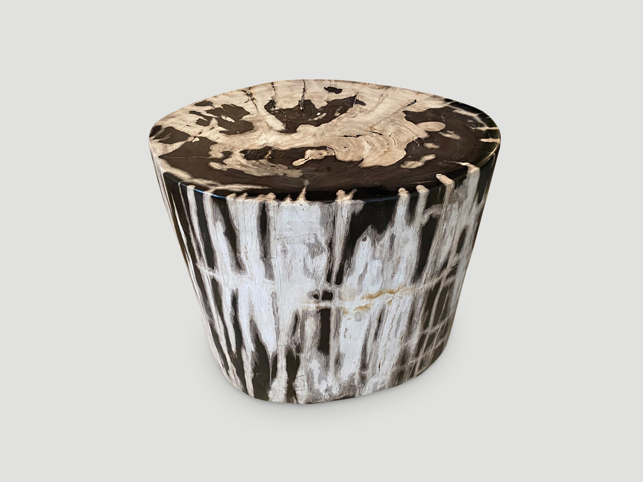 OVAL CONTRASTING TONED PETRIFIED WOOD SIDE TABLE