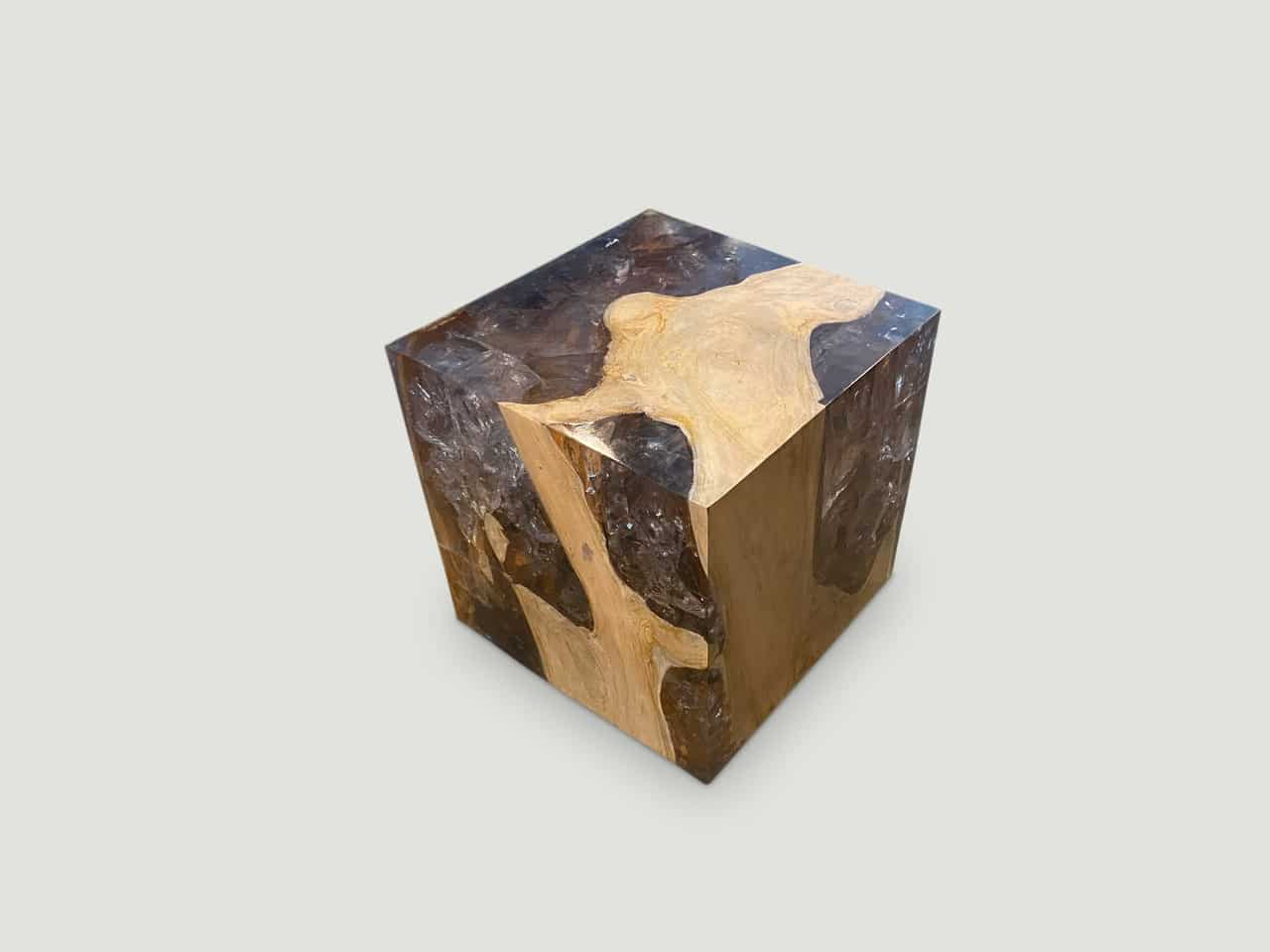 resin and teak wood side table
