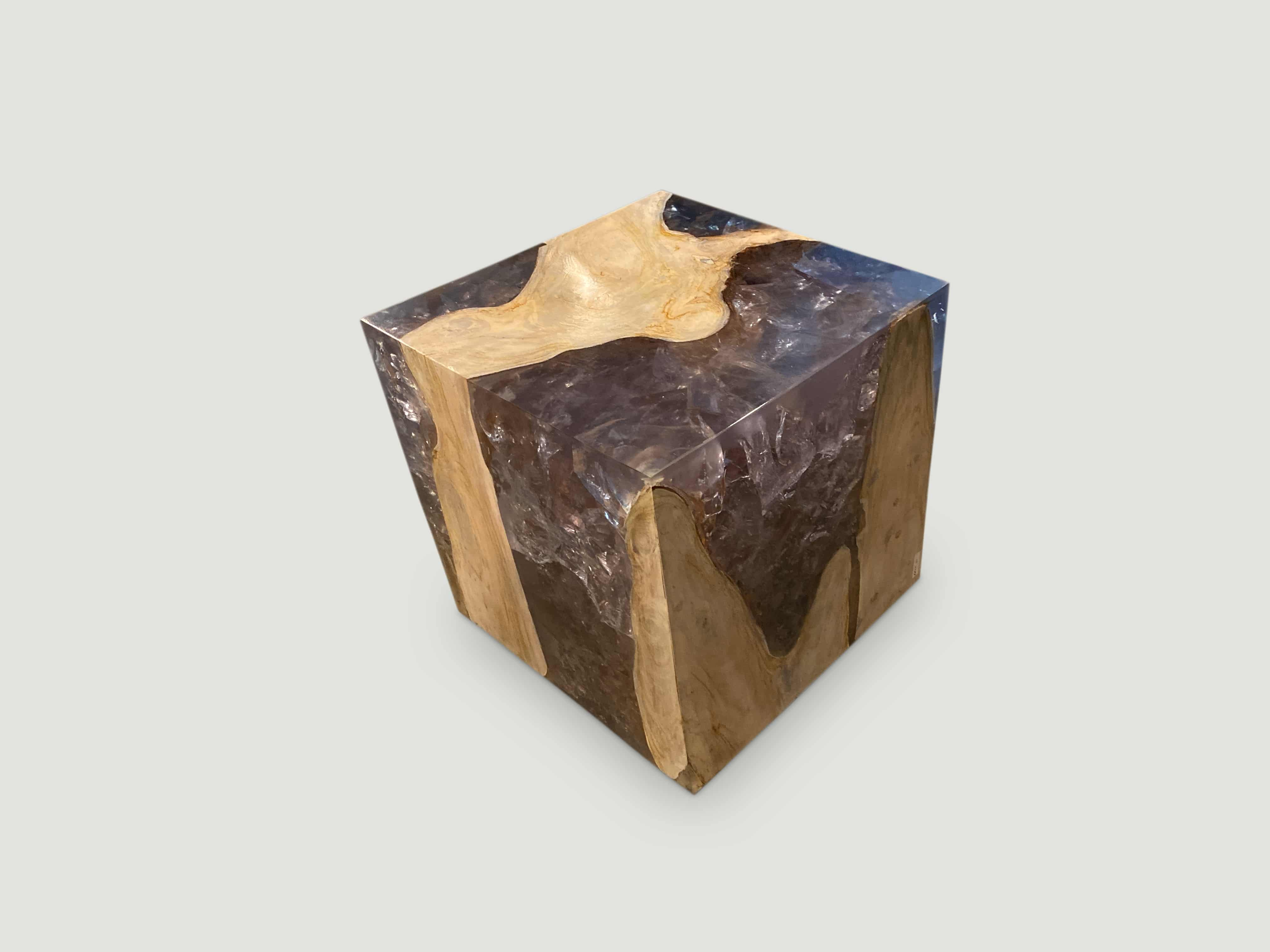 resin and took wood side table