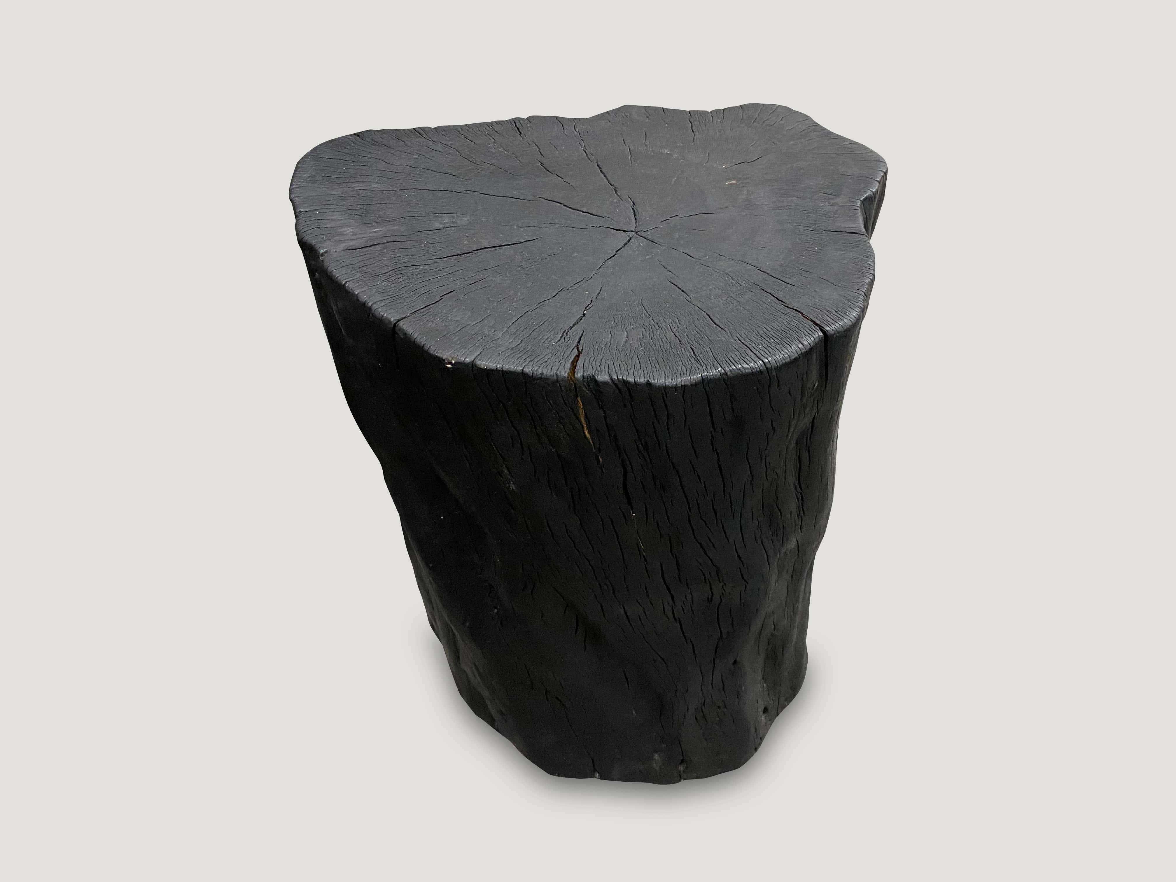 charred lychee wood side table