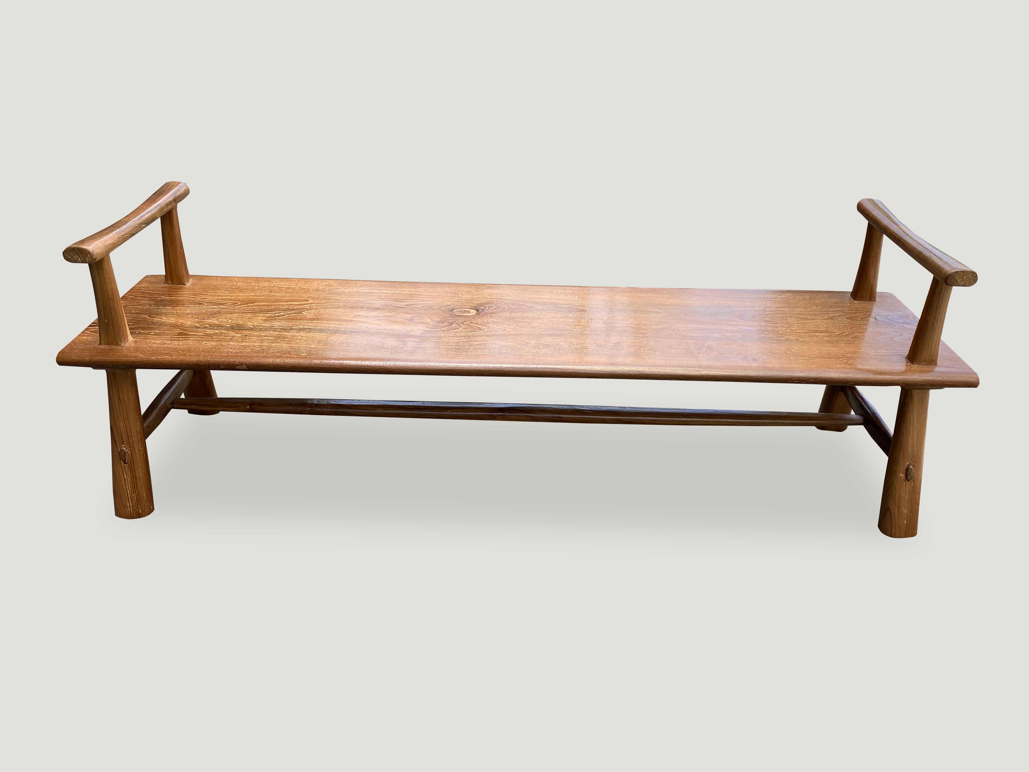 Mid Century Couture bench with arms