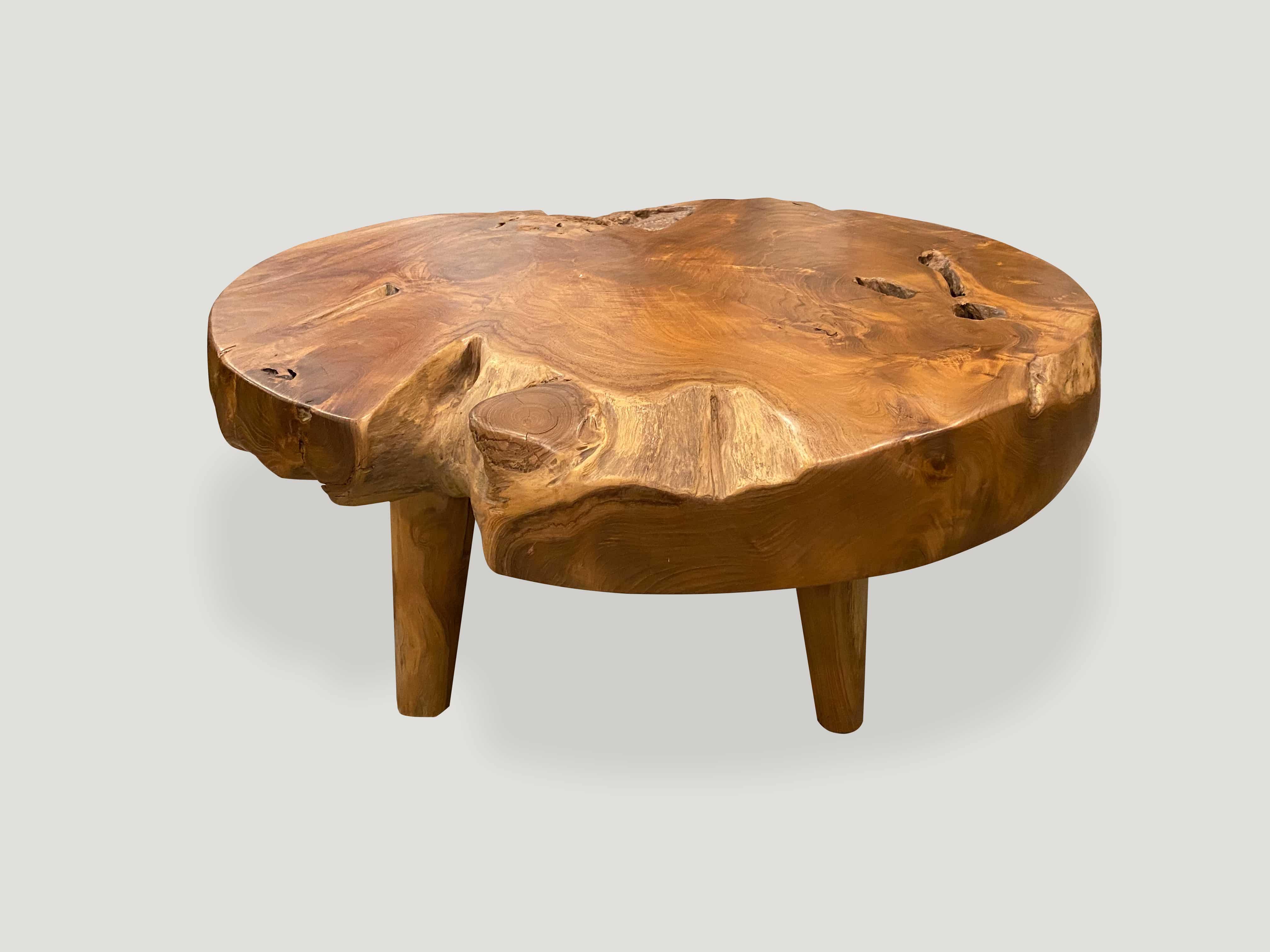 natural teak wood coffee table