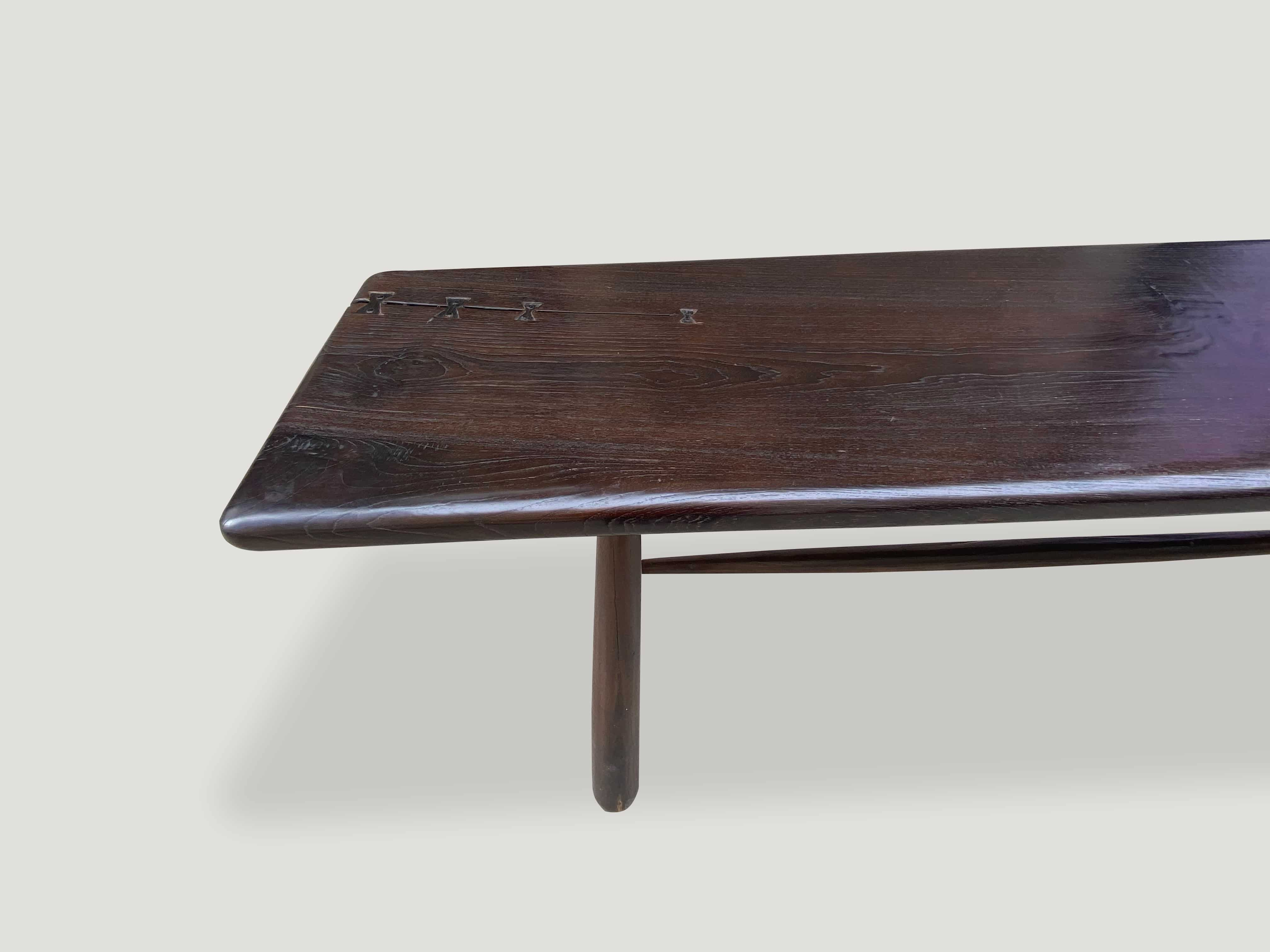 Mid Century Couture teak wood console table