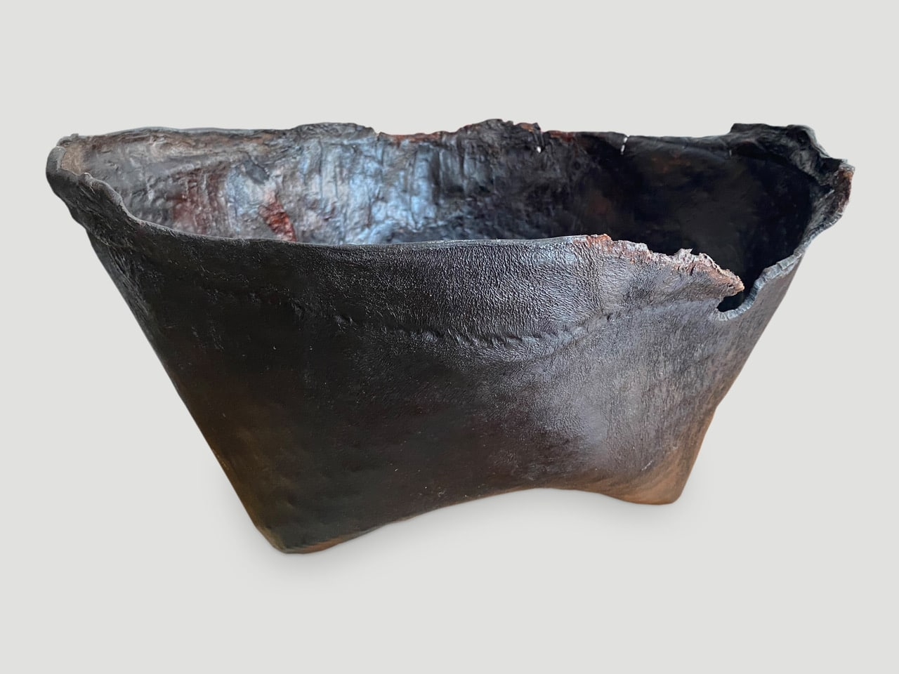 polished buffalo hide container